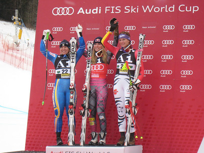 Lindsey Vonn (c), Maria Riesch (r) and Anja Paerson on the podium during the first of two downhills slated for Haus im Ennstal, Austria. The victory marked the 26th of Vonn's young career (Doug Haney/U.S. Ski Team)