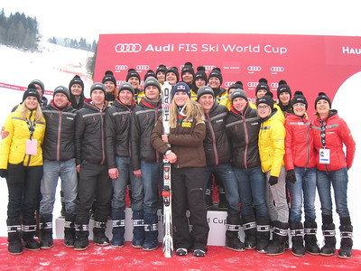 Lindsey Vonn poses at the podium with a group of fans in Haus im Ennstal (Doug Haney/U.S. Ski Team)