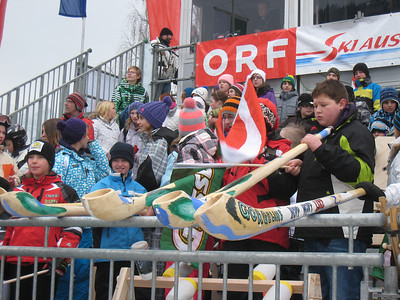 Young fans blast horns in the Haus im Ennstal finish prior to the first of two downhill races (Doug Haney/U.S. Ski Team)