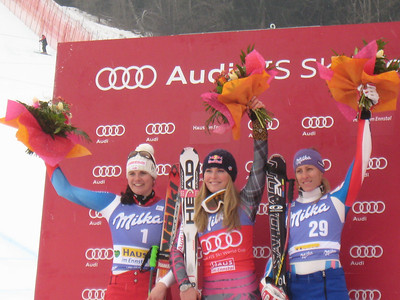 Lindsey Vonn, Nadja Kamer (l) and Ingrid Jacquemod (r) on the podium for the second of two downhill World Cup's in Haus im Ennstal. The victory was Vonn's fourth DH win this season and marked the 27th of her career (Doug Haney/U.S. Ski Team)