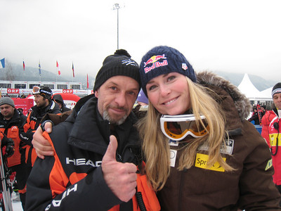Lindsey Vonn with her ski technician from Head Heinz Haemmerle after sweeping three World Cup victories in Haus im Ennstal (Doug Haney/U.S. Ski Team)