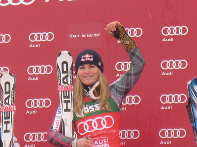 Lindsey Vonn celebrates a clean sweep of the top podium spot in Haus Im Ennstal with the super G win (Doug Haney/U.S. Ski Team)