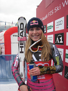 Lindsey Vonn stands in the leader box with her cheetah print arm brace after taking the 26th World Cup win of her career with a dowhill victory in Haus im Ennstal, Austria (Doug Haney/U.S. Ski Team)