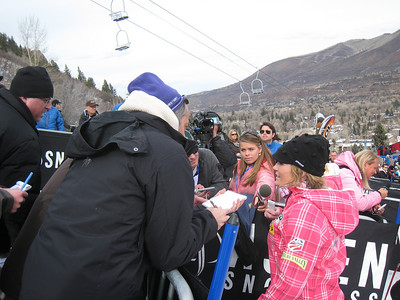 Sarah Schleper interviews with media following a 23rd place finish in giant slalom at the Aspen Winternational (Doug Haney/U.S. Ski Team)