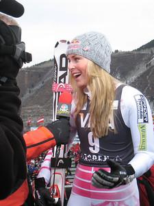 Lindsey Vonn interviews with NBC following the first run of giant slalom at the Aspen Winternational (Doug Haney/U.S. Ski Team)