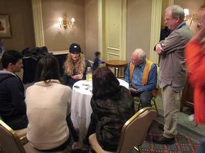 Members of the media chat with Sarah Schleper (Vail, CO) in the Aspen press room prior to the Aspen Winternational (Doug Haney/U.S. Ski Team)