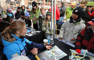 Kaylin Richardson joins her teammates as U.S. Ski Team athletes sign autographs at the Aspen Winternational, the women's only stop in the USA on the Audi FIS World Cup. (U.S. Ski Team/Tom Kelly)