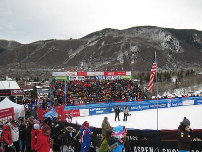 Fans pack the Aspen finish stadium during Saturday's giant slalom (Doug Haney/U.S. Ski Team)