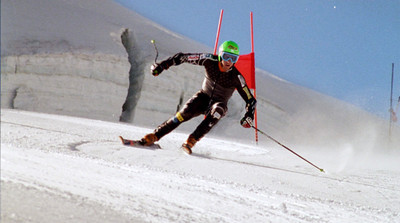 Ted Ligety takes a training run.