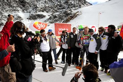 Director Brett Morgen films the U.S. Ski Team in Soelden, Austria. (U.S. Ski Team)