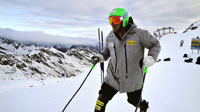 Ted Ligety warms up before the race in Soelden, Austria, high on the Rettenbach Glacier.