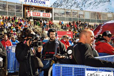 Director Brett Morgen films Jake Zamansky in the finish line at Soelden, Austria. (U.S. Ski Team)