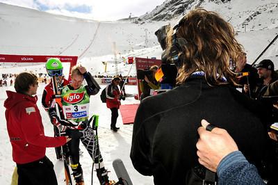 Director Brett Morgen films Ted Ligety after the race on the Rettenbach Glacier high above Soelden, Austria. (U.S. Ski Team)