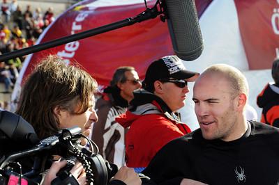 Director Brett Morgen talks with the U.S. Ski Team's Jake Zamansky. (U.S. Ski Team)