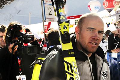 Director Brett Morgen films Jake Zamansky in the finish at Soelden. (U.S. Ski Team)