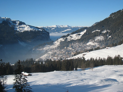Clouds hang low in the valley with the village of Wengen high above (Doug Haney/U.S. Ski Team)