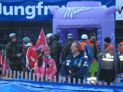 Lesli Shooter and Per Lundstam in the Wengen downhill finish (Doug Haney/U.S. Ski Team)
