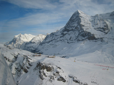 An aerial view of the Lauberhorn downhill start in Wengen (Doug Haney/U.S. Ski Team)