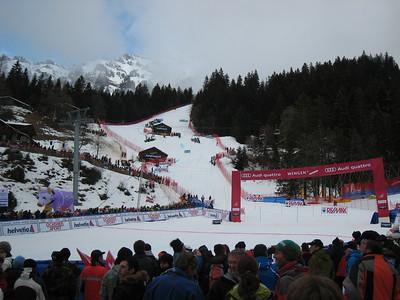 Fans fill the Wengen finish area for the second run of men's slalom (Doug Haney/U.S. Ski Team)