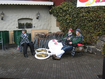 Tired tuba players relax after the men's slalom in Wengen (Doug Haney/U.S. Ski Team)