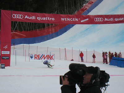 Ted Ligety punches across the finish line to land 8th in the Wengen slalom (Doug Haney/U.S. Ski Team)
