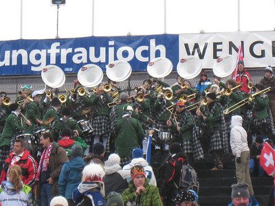 A band pipes up in the Wengen grandstand during men's slalom (Doug Haney/U.S. Ski Team)