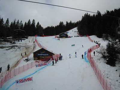 Athletes move down the slope during the first run slalom inspection in Wengen  (Doug Haney/U.S. Ski Team)