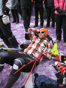 Steven Nyman relaxes after crashing through the downhill finish in Wengen to end the day 21st (Doug Haney/U.S. Ski Team)
