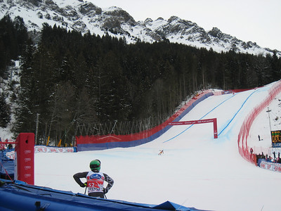 Travis Ganong takes some time to soak in the Wengen finish after his first Lauberhorn downhill (Doug Haney/U.S. Ski Team)