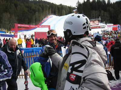 Ted Ligety gets a handshake from U.S. Ski Team technical Head Coach Rudi Soulard following the men's slalom in Wengen where Ligety finished 8th (Doug Haney/U.S. Ski Team)