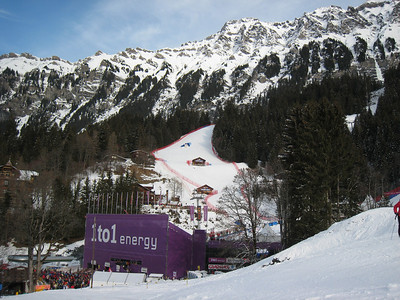 A view of the grandstand and slalom hill in Wengen (Doug Haney/U.S. Ski Team)