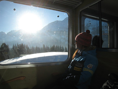 U.S. Ski Team Senior Physiologist Lesli Shooter rides the Wengenalpbahn to the downhill finish area (Doug Haney/U.S. Ski Team)