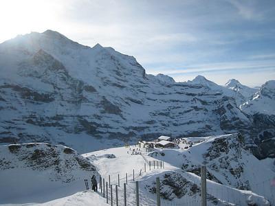 The Eiger mountain towers over the Lauberhorn downhill start in Wengen (Doug Haney/U.S. Ski Team)