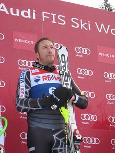 Bode Miller listens to the National Anthem after winning the super combined in Wengen for his frist 2010 World Cup podium (Doug Haney/U.S. Ski Team)