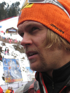 Steven Nyman shows off his new shave after the famed Lauberhorn downhill (Doug Haney/U.S. Ski Team)