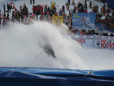 Andrew Weibrecht emerges from the spray after finishing 13th in the famed Lauberhorn downhill (Doug Haney/U.S. Ski Team)