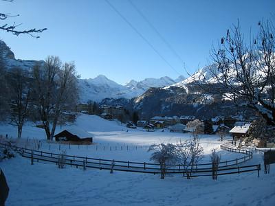 Snow covers the picturesque village of Wengen (Doug Haney/U.S. Ski Team)