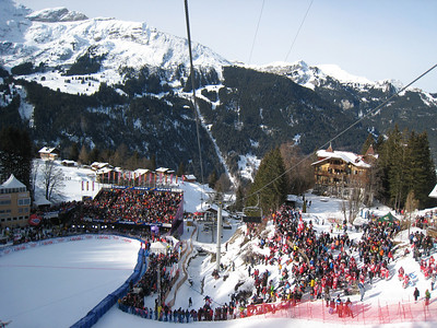 Fans pack into the tight Wengen finish area for the downhill (Doug Haney/U.S. Ski Team)