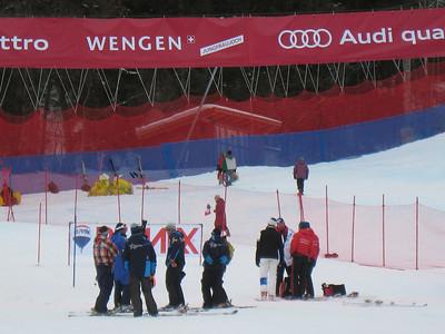 U.S. Ski Team coaches chat in the finish area prior to the men's slalom in Wengen (Doug Haney/U.S. Ski Team)