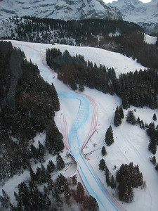 The famed Lauberhorn downhill in Wengen from the air (Doug Haney/U.S. Ski Team)
