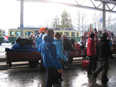 The Italian ski team loads the train with all their baggage for the trip out of Wengen (Doug Haney/U.S. Ski Team)