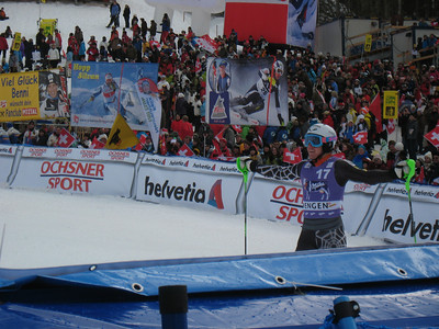 Ted Ligety reacts to an excellent second run to finish 8th in the Wengen slalom (Doug Haney/U.S. Ski Team)