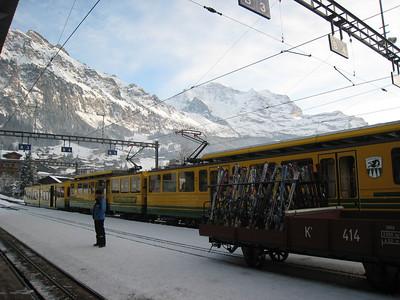 The Wengenalpbahn wisks skier from Lauerbrunnen to Wengen for the 80th running of the Lauberhorn downhill (Doug Haney/U.S. Ski Team)