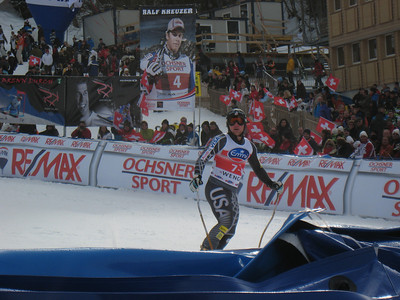 Andrew Weibrecht looks to the crowd after finishing 13th in the 80th running of the Lauberhorn downhill (Doug Haney/U.S. Ski Team)