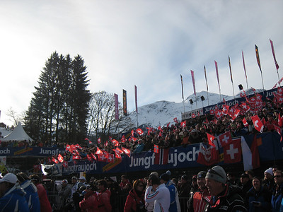 Swiss fans pack the tight Wengen finish area for Friday's super combined. An record 17,000 where on hand to see Bode Miller return to the top of the World Cup podium (Doug Haney/U.S. Ski Team)