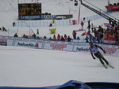 Jimmy Cochran peels into the finish stadium to finish 12th in slalom at Wengen (Doug Haney/U.S. Ski Team)
