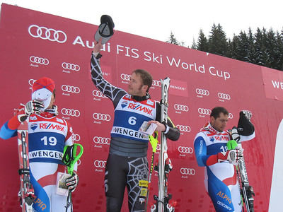 Bode Miller waves to fans after winning the super combined in Wengen for his frist 2010 World Cup podium (Doug Haney/U.S. Ski Team)