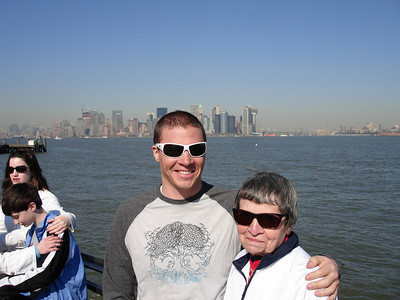 Cody Marshall and his grandmother, Nanu, on the boat to Ellis Island (Marshall Family)