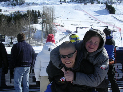 Cody Marshall and sister Chelsea goof around at the U.S. Alpine Championships (Marshall Family)