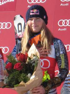 Lindsey Vonn listens to the U.S. National Anthem after super G victory in Cortina (Doug Haney/U.S. Ski Team)